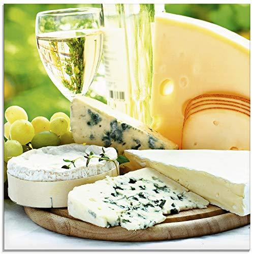 Artland Glasbilder Wandbild Glas Bild einteilig 30x30 cm Quadratisch Toskana Italien Käse Weißwein Wein Brotzeit Sommer Urlaub T5QM