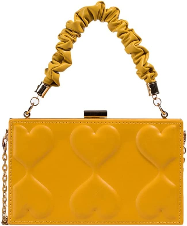 DSJTCH Women Bag Fashion Clutch Purse Box Design Handbag Women Metal Chain Shoulder Bag Ladies Small Hand Pouch (Color : Yellow, Size : 74.32.4 inch)