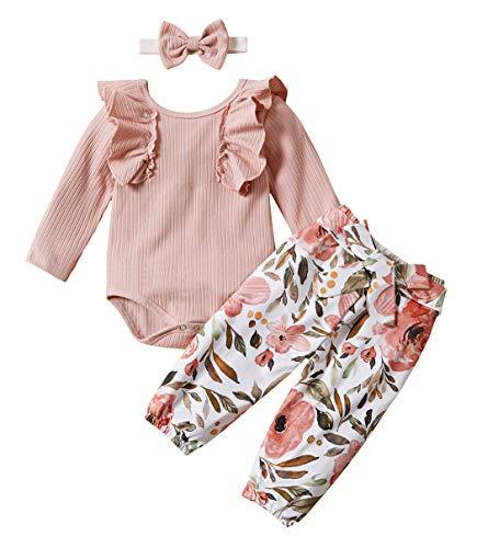Jurebecia Ropa Bebe Niña Conjuntos Bebe Niña Recien Nacido Bebé con Capucha Floral Sudadera Tops Pantalones Ropa Trajes Rosa 3-6 Meses