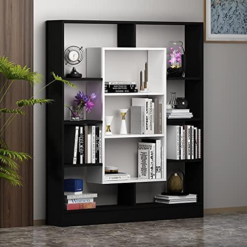 HOMIDEA Venus Bibliothèque - Étagère de Rangement - Étagère pour Livres - Étagère pour Bureau/Salon par Le Design Moderne (Noir/Blanc)