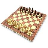 Juego de ajedrez plegable con piezas de madera hechas a mano de calidad, cumple con la FIDE para estimular tu cerebro ejercitar tu mente 34 cm 340 mm 30,4 cm