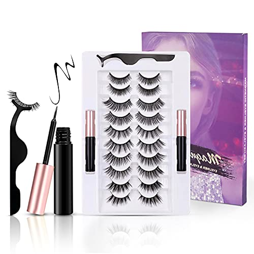 Magnetic Eyelashes with Eyeliner Kit, 10 Pairs Reusable Magnetic Lashes, Upgraded False Lashes Kit with Lash Tweezers Inside, Suitable for Daily Wedding Party