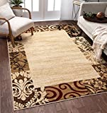 Well Woven Verdant Vines Beige Modern Damask Border Rug 7x10 (6'7' x 9'6') Casual Oriental Easy Clean Stain Fade Resistant Shed Free Contemporary Floral Formal Gradient Soft Living Dining Room Rug