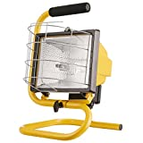 Globe Electric, Yellow 500W Portable Halogen Work Light with Floor Stand & Foam Handle, Finish, Bulb Included, 6050401
