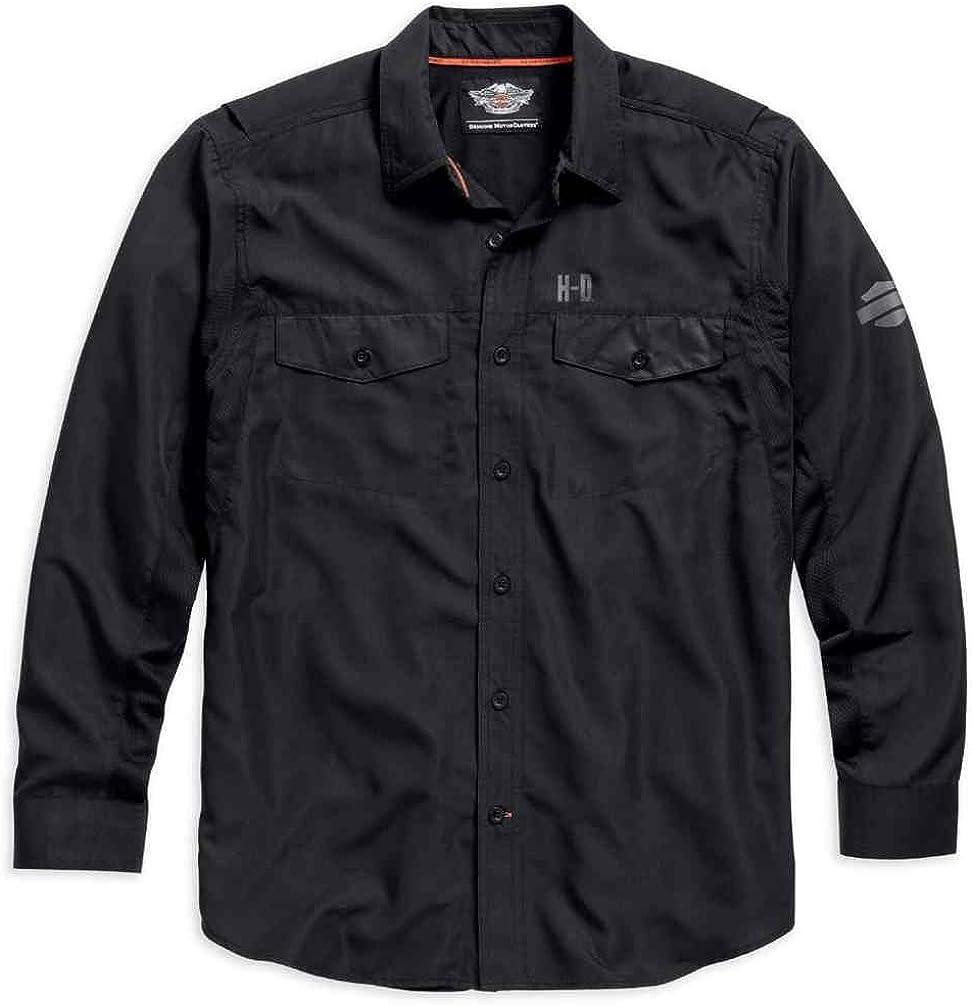 HARLEY-DAVIDSON Long sale Sleeve Manufacturer OFFicial shop Performance Front Button Shirt Blac