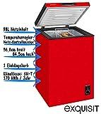 Exquisit Gefriertruhe Rot | 4 Sterne Gefrierraum | 98 Liter Nutzinhalt | Temperaturregelung & Herausnehmbarer Hängekorb | EEK A+ | Rollen Rechts für leichtes Umstellen