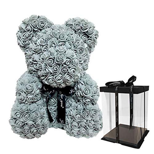 Oso de rosas artificiales de polietileno con caja de regalo de oso de
