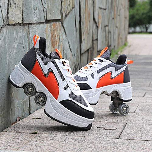 GUOXY Inline-Skates, Einstellbare Quad Roller Skates Boots, Invisible 2 in 1 abnehmbarer Pulley Skates Skating Roller Skate Schuhe für Frauen,Orange,41