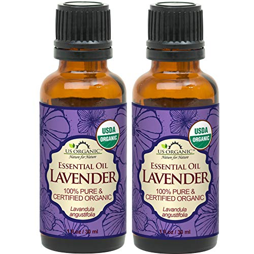 US Organic 100% Pure Lavender Essential Oil (Bulgarian) - USDA Certified Organic - 30 ml Pack of 2 - w/Improved caps and droppers (More Size Variations Available)