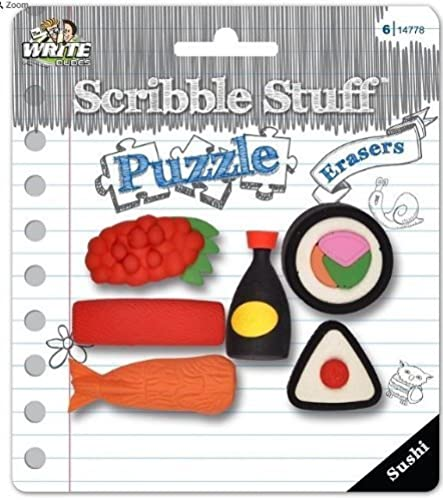 Scribble Stuff Puzzle Erasers  Sushi (Sushi with Soy Sauce; 6 Erasers) by MEGA Brands (English Manual)