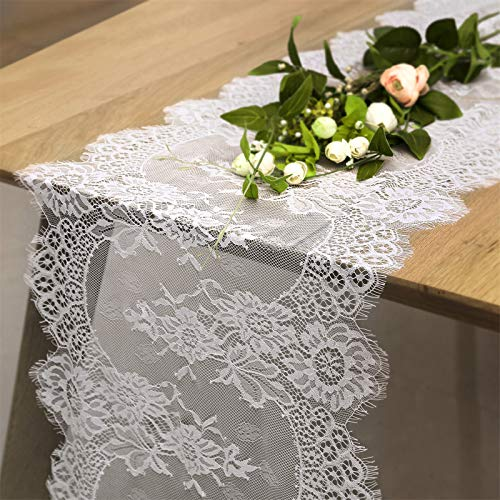 2 Pack 14 x 120 Inch Rustic Lace Table Runner Baby Shower Party Table Decorations White Farmhouse Vintage Decor for Rectangle Table