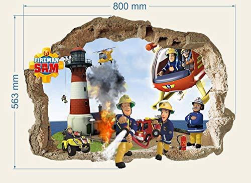 Feuerwehrmann Sam wandsticker Wandbilder für Jungs, Feuerwehrmann Sam Pattern 800mmX 560mm