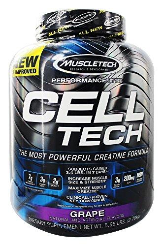 MuscleTech Cell Tech Performance Series Hardgainer Kreatin Formel, 2720g, Geschmack:Grape