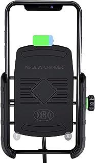 Entweg Suporte para telefone de motocicleta de 15 W Carregador sem fio USB de carregamento rápido 2 em 1 Suporte de telefo...