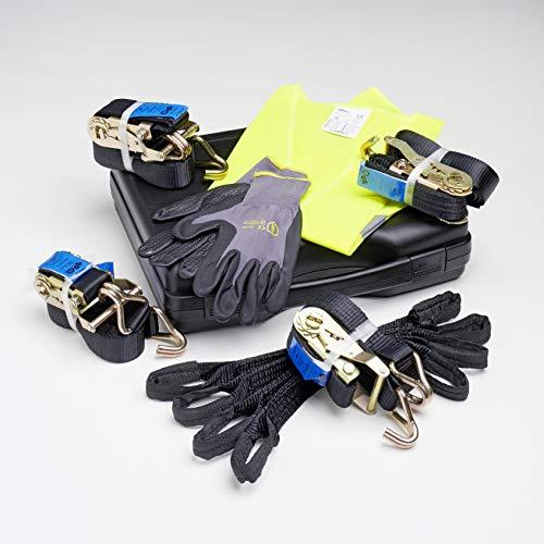 GurtUndNetz Ratschenspanngurt Set für die Ladungssicherung: Kunststoffkoffer, EN 12195-2 Zurrgurten/Spanngurten/Spannset, Quergurt, Handschuhen und Warnweste.