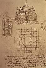 Sketch of a Square Church with Central Dome & Minaret Pen & Ink Leonardo da Vinci (1452-1519 Italian) Bibliotheque Nationale Paris Poster Print (24 x 36)