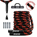XGEAR Heavy Battle Rope,Anchor Strap Kit/Wall Hanger Included - Upgraded Exercise Training Rope of High Tensile Strength Poly Dacron/Undulation Ropes for Strength Training, Cardio Workout, Red
