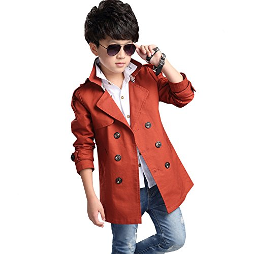 LSHEL Wintermantel Kinder Jungen Parka Oberbekleidung Baby Warm Mantel Verdickte Outerwear Trenchcoat, Rostrot, 152/158
