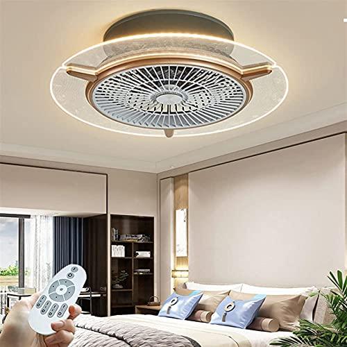 Ventilador de techo con luz LED Control remoto Regulable 3 colores Temporizador de 3 velocidades Invisible Silencioso Ultrafino 15cm Lámpara de ventilador de techo para sala de estar Dormitorio