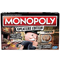 """Follow, bend, or break the rules to win in this edition of the Monopoly game Players can try to get away with as many cheats as possible Cheat cards tell players which cheats to attempt Plastic handcuff unit """"chains"""" cheating players to Jail space"""