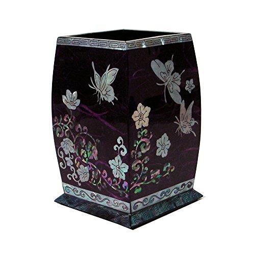 Antique Alive Accessoire de bureau Pot à Crayon et Pinceaux Porte-stylos Bois Pourpre Incrustation Nacre Motif Fleur et Papillon Corée