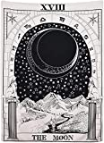 Schwarzer Mond Tarot-Tapisserie, der Mond, der Stern, die Sonne, Wandbehang, mittelalterliche Europa, Wahrsagung, weiß & schwarz, Wanddekoration groß