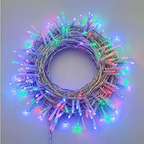 Catena di luci natale 180 led serie luminosa natalizie per esterno interno albero cavo filo trasparente con trasformatore 31v (Luce multicolore)