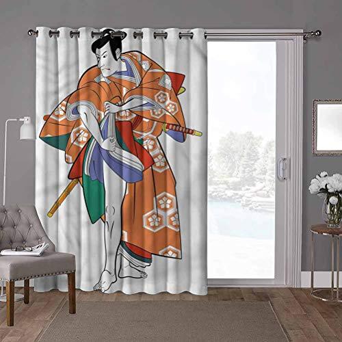 YUAZHOQI Cortina divisora de habitacin con aislamiento trmico con ojales, mscara Kabuki, actor en disfraz, cortinas de puerta de cristal para ventana (1 panel)