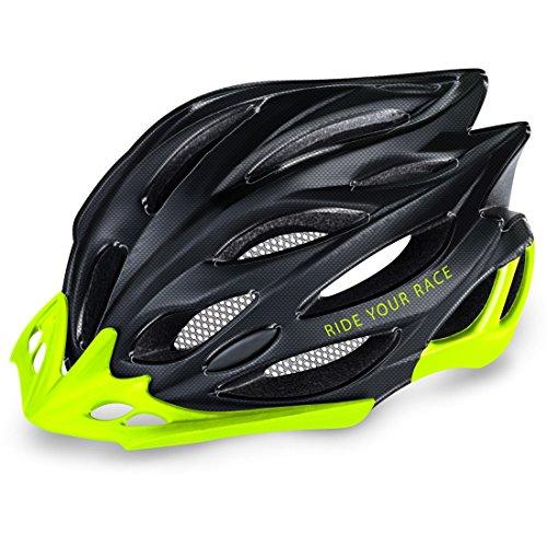 R2  Rennradhelm Wind   Fahrradhelm   Radhelm   Mountain Bike   MTB-Helm   Triathlon-Helm   Damen und Herren (Carbon schwarz/neon gelb, M (56-58cm))