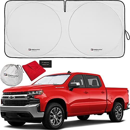 SHINEMATIX 1-Piece Windshield Sun Shade Foldable Car Front Window Sunshade for Most Sports Cars SUV Truck - Best Heat Shield Reflector Cover - Blocks Max UV Rays & Keeps Your Vehicle Cool - Large Fit