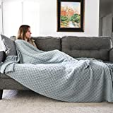 Graced Soft Luxuries Oversized Throw Blankets Knit Soft for Sofa Couch Decorative Knitted Farmhouse Fringe Blanket (Sky Gray, Extra Large 60' x 80')