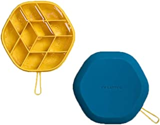 COROTC Silicone Ice Cube Tray, DIY Geometric Mini Ice Cube Mold, with Lid, Small Rope, Yellow and Blue
