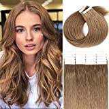 Loxxy Tape in Hair Extensions Human Hair Seamless Skin Weft Natural Thick Brazilian Hair Double Weft Human Hair Extensions Tape in Golden Blonde #10 20Pieces 50g/Pack 14Inch