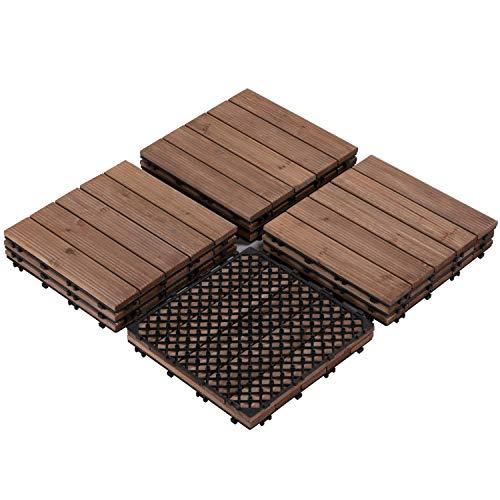 Yaheetech 12 x 12'' Patio Pavers Interlocking Wood Tiles Wood Flooring Tiles Indoor & Outdoor for Patio Garden Deck Poolside Pack of 11 Tiles
