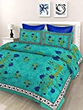 SheetKart Floral 144 TC Cotton Double Bedsheet with 2 Pillow Covers - Sea Green Blue