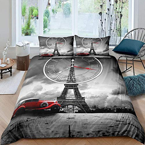 Meimall Juego De Ropa De Cama Gris Coche Reloj Torre Eiffel 240X220 Cm Reversible, 100% Microfibra Suave Y Agradable, 1 Funda Nórdica Y Funda De Almohada De 50X75Cm con Cremallera