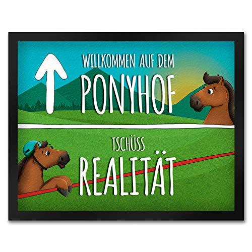 trendaffe - Pferde Fußmatte mit Spruch: Willkommen auf dem Ponyhof Pferdestall Pferd reiten