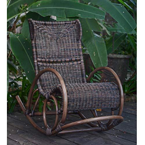 Casa Moro Rattan Schaukelstuhl Cadis Braun - aus Naturrattan handgeflochten - Premium Qualität Relax-Schaukel Korb-Sessel   Vintage Retro-Stuhl für Küche Garten Terrasse Esszimmer   IDSSB77