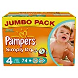 Pampers Simply Dry Gr.4 Maxi 7-18kg Jumbo Box, 1er Pack (1 x 74 Windeln)