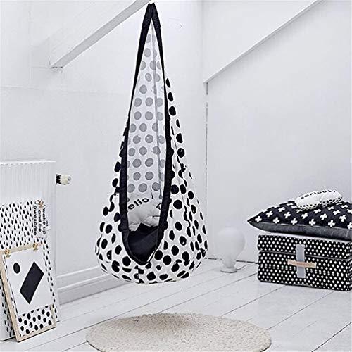 LMX-liv Kids Pod Swing Seat - Katoen Hangende Nest voor Kinderen - Kinderen Pod Hangende Stoel voor Kwekerij Of Kinderkamer - Hangmat Pod Kids Swing - Draagbare Kinderen Opblaasbare Doek Bag Swing Tent Zwart