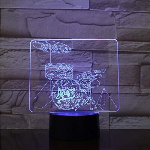 Diseño de arte único, luz nocturna pequeña, interruptor táctil, arte en 3D, modelado de tambores, atmósfera musical, lámpara de mesa, iluminación USB, portátil de Navidad