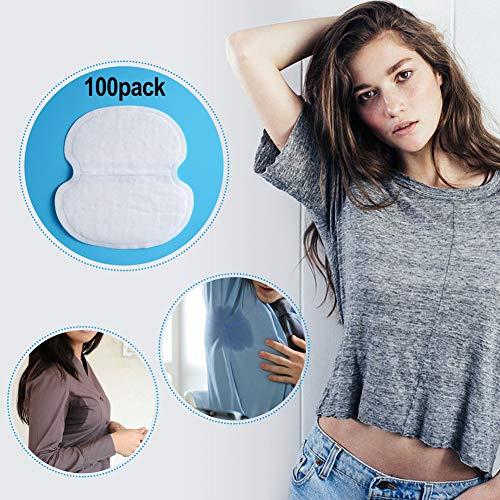 Almohadillas para el sudor de las axilas, PChero 100 PCS (50 pares) Escudos absorbentes desechables desechables de primera calidad para mujeres, hombres y mujeres