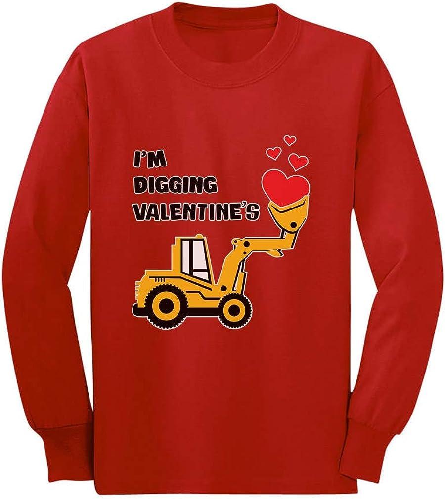 I'm Digging Valentine's Gift Tractor Loving Boy Toddler Kids Long Sleeve T-Shirt