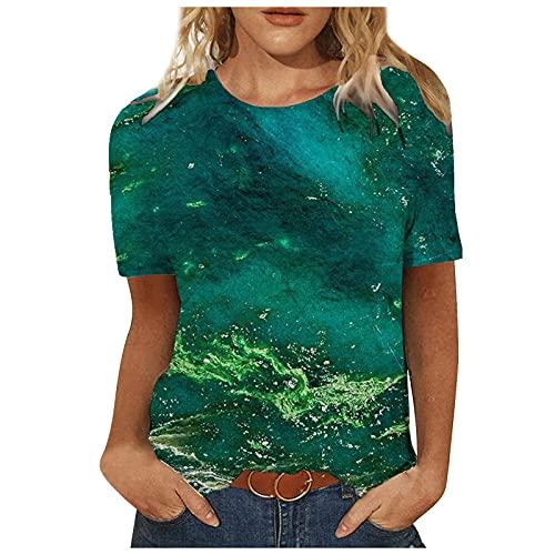 MOMONIHAO Damen Sommer 3D Bunt Sonnenblume Katze Hase Motiv Lässig Loose Patchwork Pullover Rundhals Kurzarm Tops T-Shirts