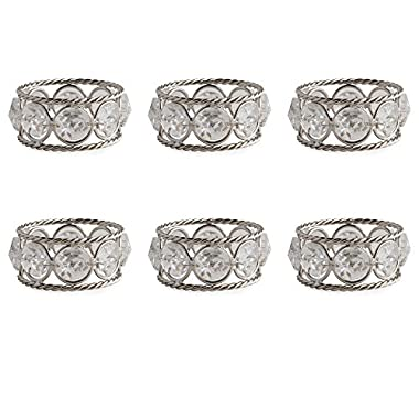 DII Modern Chic Napkin Rings Made of Twisted Wire and Crystals for Dinner Parties, Weddings Receptions, Family Gatherings, or Everyday Use, Set Your Table With Style - Silver Jewels, Set of 6