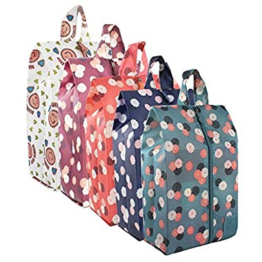 Zmart Portable Shoe Bags for Travel Colorful Flower Traveling Shoe Storage Organizer Packing Cubes with Zipper for Women 5 Pack