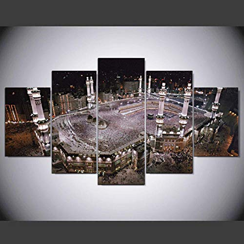 Large Poster Hd Printed Painting Canvas 5 Panel Kaaba Print Art Home Decor Wall Art Islam Pictures Night Scene for Living Room-Without Frame