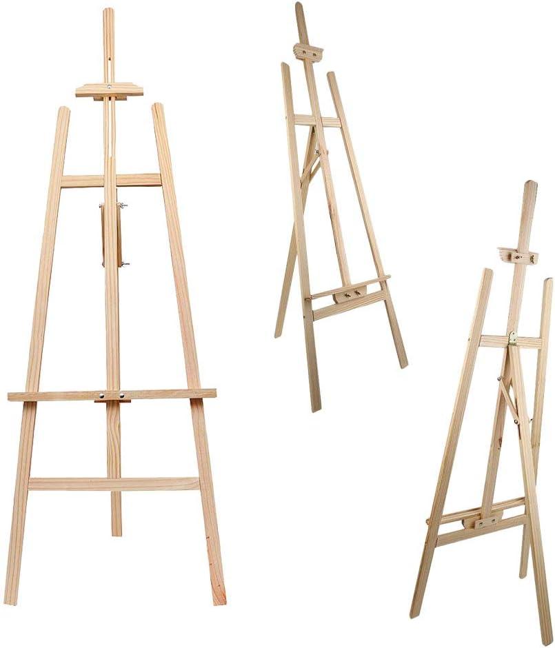 Caballete de madera ajustable exposiciones de exhibici/ón tr/ípode de pino plegable para estudio de lienzo de arte dibujos 150 cm // 59 pulgadas para bodas