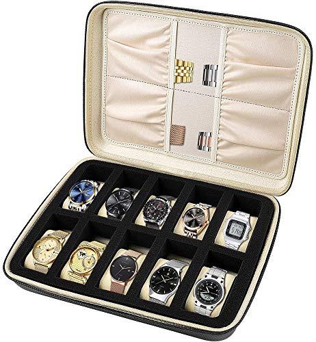 10 Griff Uhrenbox mit Fächern. Aufbewahrung mit Schwammposition, Zubehörtasche für Uhrenarmband, Innenkissen für Männer oder Frauen - Gelb