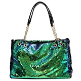 QTKJ Fashion Two Tone Reversible Sequin Tote Bag Zipper Shoulder Bag with Chain and Leather Straps (Green)